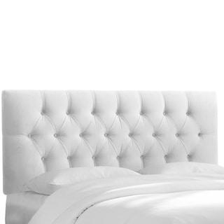 Skyline Furniture White Velvet Tufted Headboard