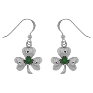 Sterling Silver Celtic Shamrock Clover Good Luck Dangle Earrings with Emerald Green Glass
