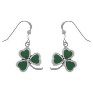 Sterling Silver Celtic Shamrock Clover Good Luck Dangle Earrings