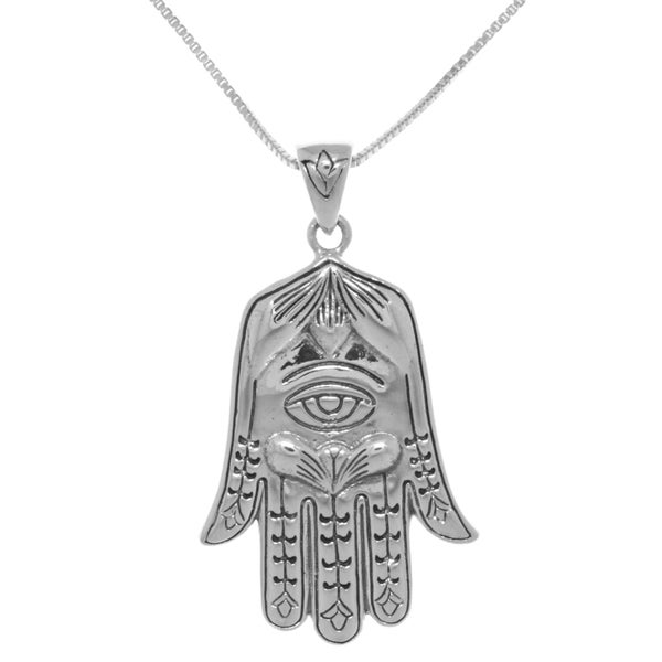 Sterling Silver Large Hamsa Hand Eye of Fatima Pendant