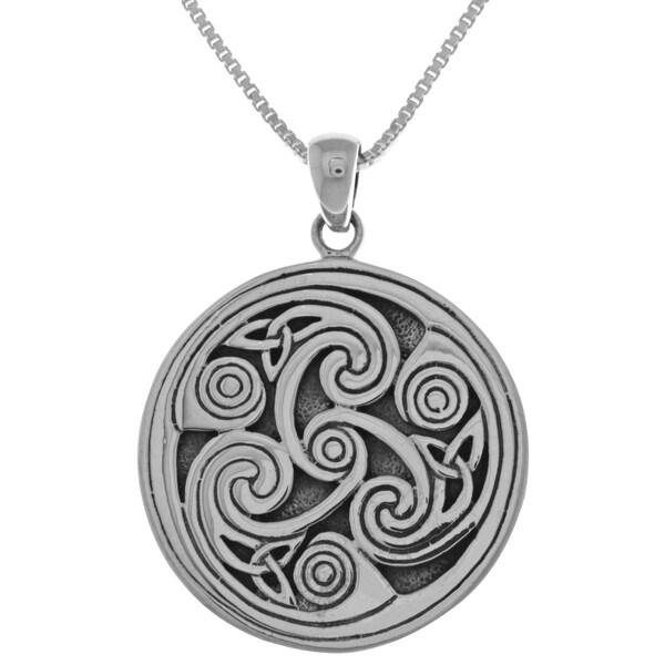 Sterling Silver Celtic Triple Spiral Triskele Pendant