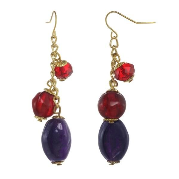 Alexa Starr Goldtone Red and Purple Glass Linear Earrings