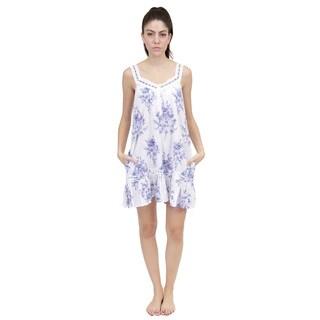 La Cera Women's Sleeveless Ribbon/Lace Chemise