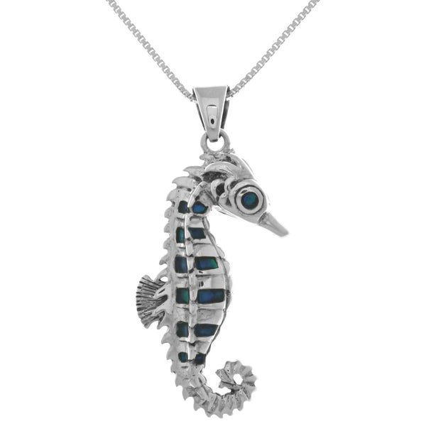 Sterling Silver Deep Ocean Seahorse Pendant with Blue Paua Shell