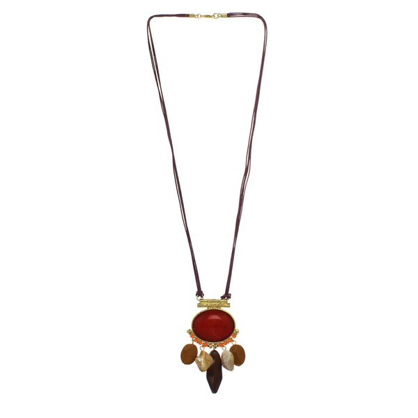 Alexa Starr Red & Brown Coral Stone Pendant Necklace
