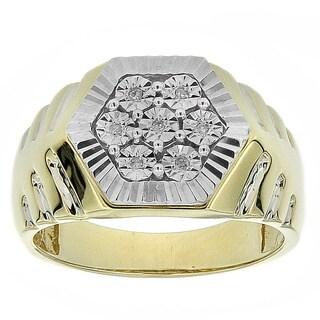 10k Yellow Gold Men's Diamond Accent Hexagonal Ring