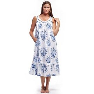La Cera Women's Sleeveless Ribbon/Lace Yoke Gown