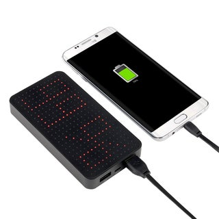 BasAcc Black Universal Aluminium 10000mAh 2-port USB Power Bank Charger with LED Time Display and Energy Level