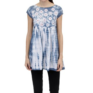 La Cera Women's Voile Tie-Dyed Tunic Top
