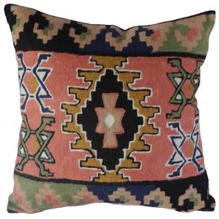 Handmade Kilim Wool Chain-Stitch Pillow Cover (India)