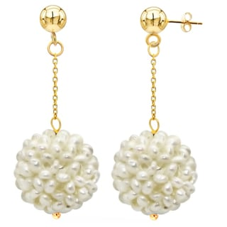 DaVonna 14k Yellow Gold White Freshwater Snow ball White Gold and Bead Dangle Earring (18-20 mm)