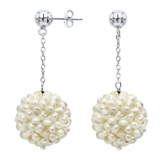 DaVonna Sterling Silver White Freshwater Snow Ball Pearl and Bead Dangle Earring (18-20 mm)