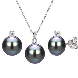 DaVonna Sterling Silver Black Freshwater Pearl and Cubic Zirconia Jewelry Set (7-8 mm)