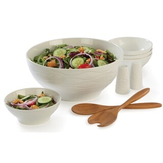 Bamboo and Porcelain Salad 9-piece Serving Set