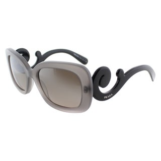 Prada Womens PR 27OS UBV4P0 Matte Grey Transparent Rectangle Plastic Minimal-Baroque Edition Sunglasses