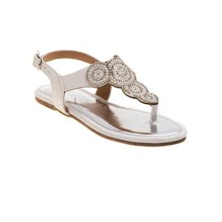 Kensie Girl Girls' White Pearl and Rhinestone Beaded Flat Sandals