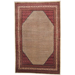 Herat Oriental Persian Hand-knotted 1960's Semi-antique Mir Ivory/ Red Wool Rug (7'5 x 11'6)