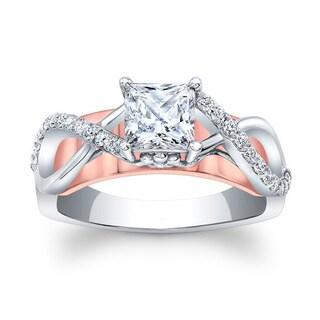 Barkev's 14k White and Rose Gold 1 1/5ct TDW Diamond Designer Princess Cut Engagement Ring (F-G, SI1-SI2)