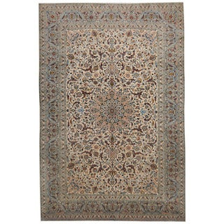 Herat Oriental Persian Hand-knotted 1960's Semi-antique Kashan Ivory/ Gray Wool Rug (8'1 x 12'3)