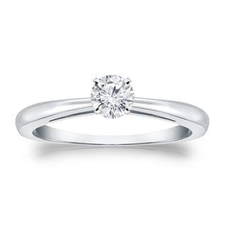 Auriya Platinum 1/4ct TDW Round-cut Diamond Solitaire Engagement Ring (H-I, VS1-VS2)