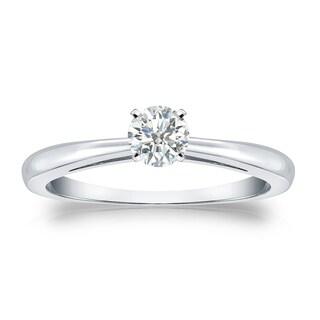 Auriya Platinum 1/4ct TDW Round-cut Diamond Solitaire Engagement Ring (I-J, SI1-SI2)