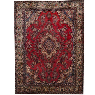 Herat Oriental Persian Hand-knotted 1960's Semi-antique Sarouk Red/ Ivory Wool Rug (8'7 x 11'7)