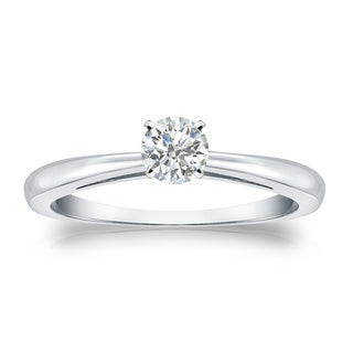 Auriya Platinum 1/4ct TDW Round-cut Diamond Solitaire Engagement Ring (I-J, SI2-SI3)