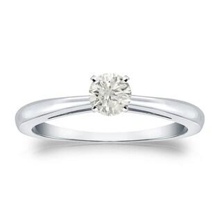 Auriya Platinum 1/4ct TDW Round-cut Diamond Solitaire Engagement Ring (J-K, I1-I2)