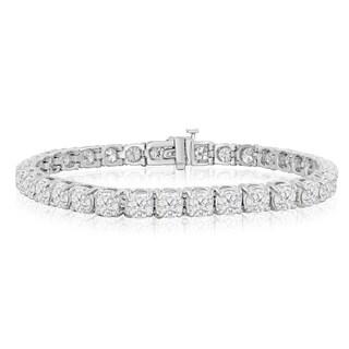 14k White Gold 9 1/2 to 14 1/2ct TDW Round Diamond Tennis Bracelet (J-K, I2-I3)