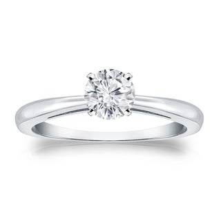 Auriya Platinum 1/3ct TDW Round-cut Diamond Solitaire Engagement Ring (H-I, VS1-VS2)
