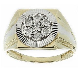 10K Yellow Gold Men's 1/10ct TDW Diamond Square Ring (GH- SI3-I1)