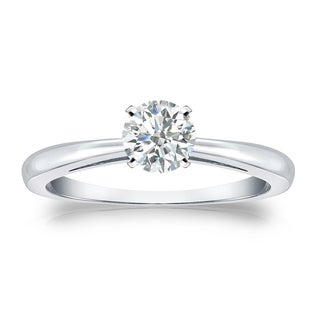 Auriya Platinum 1/3ct TDW Round-cut Diamond Solitaire Engagement Ring (I-J, SI1-SI2)