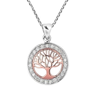 Tree of Life Rose Gold Vermeil Over .925 Silver Necklace (Thailand)