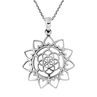 Sacred Geometry Seed of Life Heart Sterling Silver Necklace (Thailand)