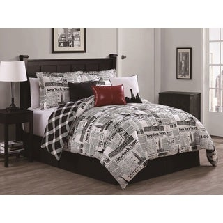 Newspaper Reversible 7-piece Comforter Set