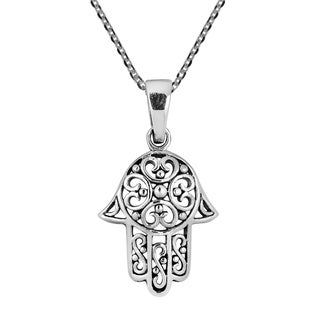 Sweet Swirl Filigree Hamsa Hand Sterling Silver Necklace (Thailand)