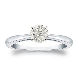 Auriya Platinum 1/3ct TDW Round-cut Diamond Solitaire Engagement Ring (J-K, I1-I2)