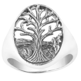 Enchanted Oval Big Tree of Life Sterling Silver Ring (Thailand)