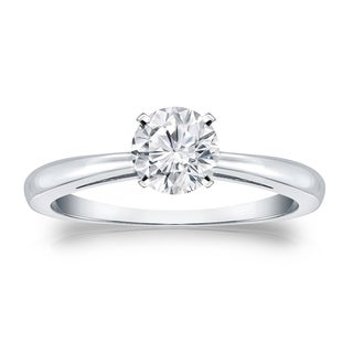 Auriya Platinum 1/2ct TDW Round-cut Diamond Solitaire Engagement Ring (H-I, VS1-VS2)