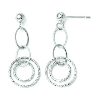 Versil 14k White Gold Post Dangle Earrings