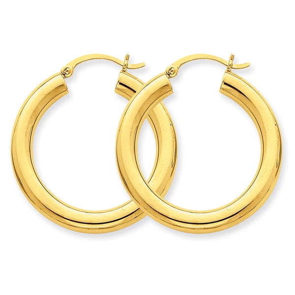 Versil 14k Polished 4mm x 30mm Tube Hoop Earrings