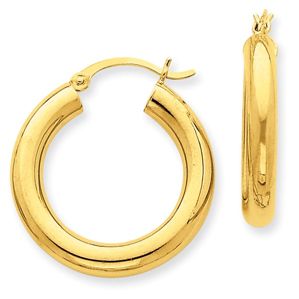 Versil 14k Polished 4mm x 25mm Tube Hoop Earrings