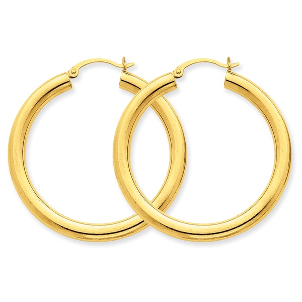 Versil 14k Polished 4mm x 40mm Tube Hoop Earrings