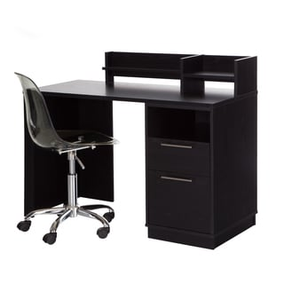 South Shore Academic Black Oak Desk with Clear Office Chair