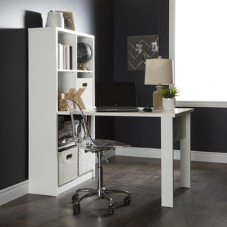 South Shore Annexe Work Table and Storage Unit Combo with Clear Office Chair