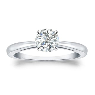 Auriya Platinum 1/2ct TDW Round-cut Diamond Solitaire Engagement Ring (I-J, SI1-SI2)