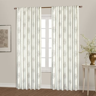 Starburst Sack Tab Top Lined Embroidered Curtain Panel Pair