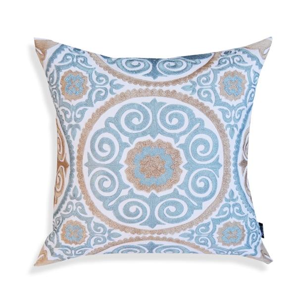 Lexi Blue/ Dark Beige 20-inch Pillow