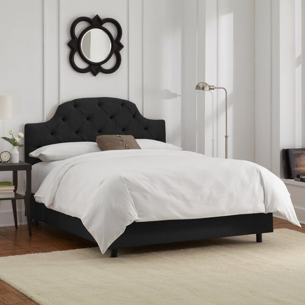 Skyline Furniture Black Linen Tufted Bed