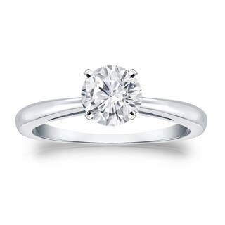 Auriya Platinum 3/4ct TDW Round-cut Diamond Solitaire Engagement Ring (H-I, VS1-VS2)